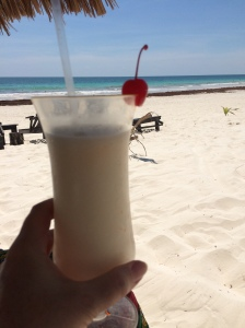 pina colada on the beach