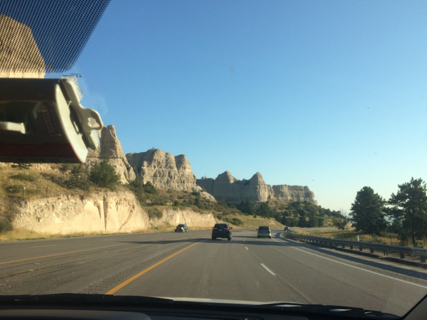 My first view of whatever these rock formations are called, on our way to Mitchell.